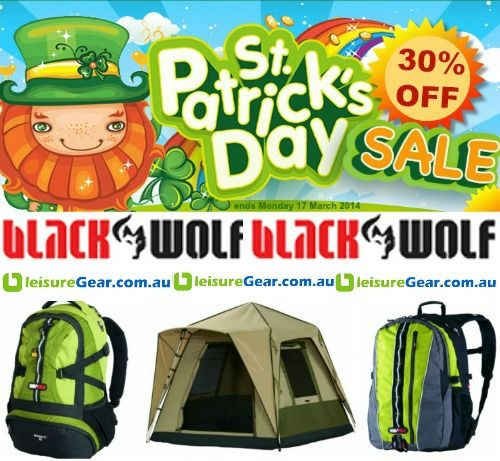 A little luck o' the Irish for you this week... 30% OFF selected BlackWolf products and yes it includes Turbo Tents! Ends Monday, 17 - St Patrick's Day! http://www.leisuregear.com.au/blackwolf/