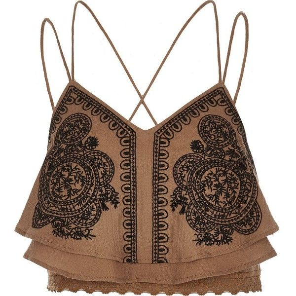 River Island Brown embroidered cropped cami (£38) ❤ liked on Polyvore featuring tops, brown, crop tops / bralets, women, crop tank, lace top, cami crop top, lace crop tank and lace camisole tank