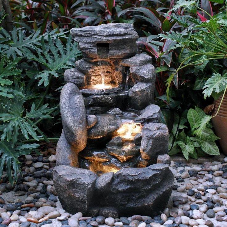 Garden Treasures 26 8 In Resin Rock Waterfall Outdoor Fountain At