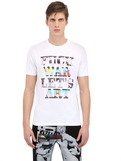 FRANKIE MORELLO - PRINTED COTTON JERSEY T-SHIRT - LUISAVIAROMA - LUXURY SHOPPING WORLDWIDE SHIPPING - FLORENCE