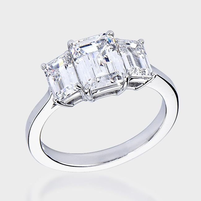 Sterling Silver Princess Cut Pink Cubic Zirconia Stone With Cubic Zirconia Baguettes Ring - US: 8 ; UK: P 8XgsrBAJ