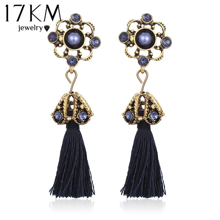 17KM New Tassel Stud Earrings Fashion Vintage Brincos Statement Crystal Flower Earrings For Women Indian Jewelry aretes 2016