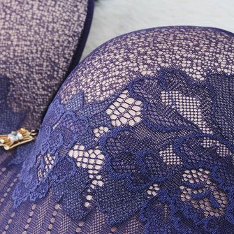 Women Sexy Lace Embroidery Wireless Bra Dark V Thin Massage Lining Underwear at Banggood