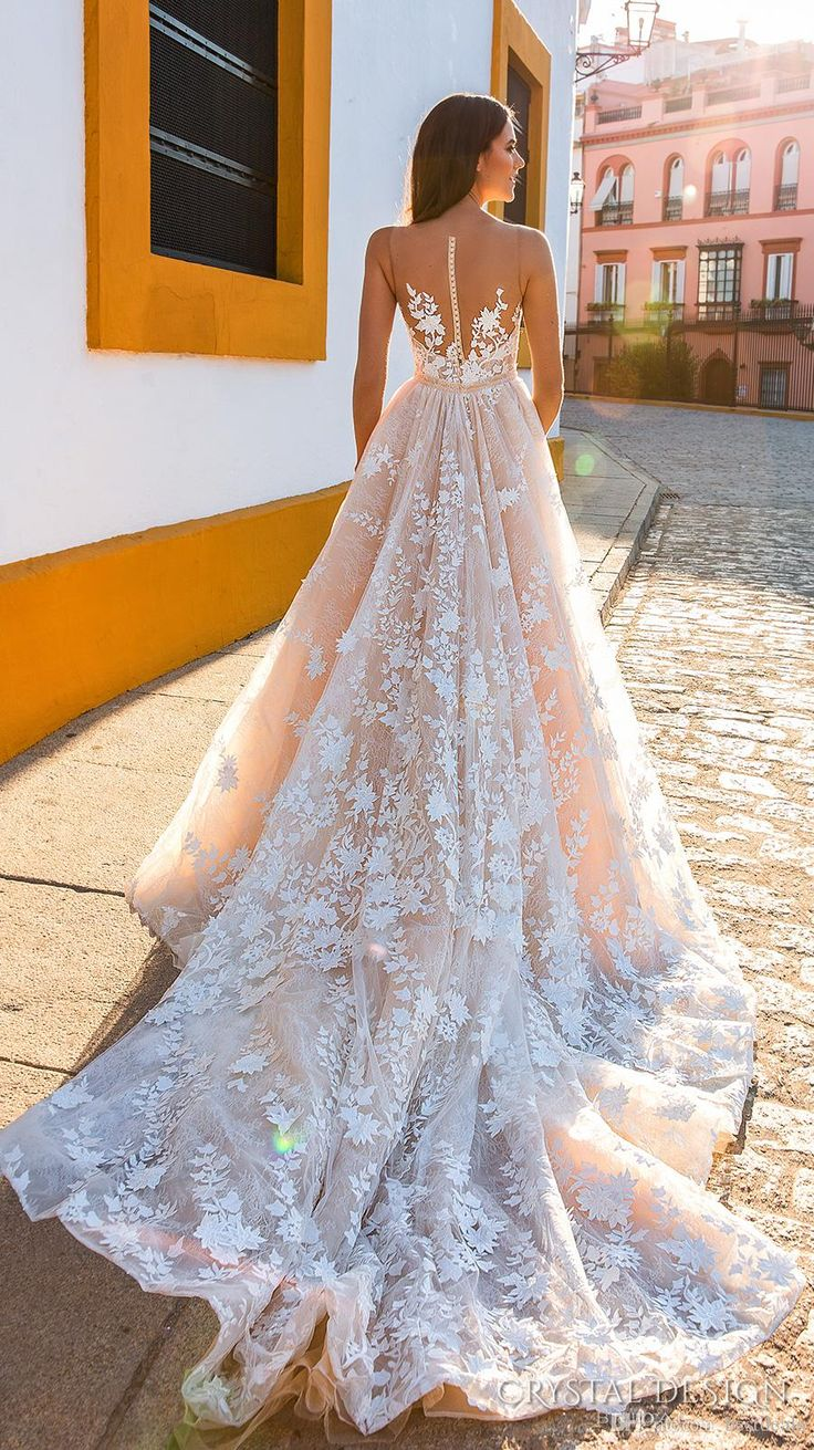 Crystal Design 2018 Bridal Sleeveless Straps Deep Plunging Full Embellishment Blush Color A Line Wedding Dresses Sheer Back Royal Train