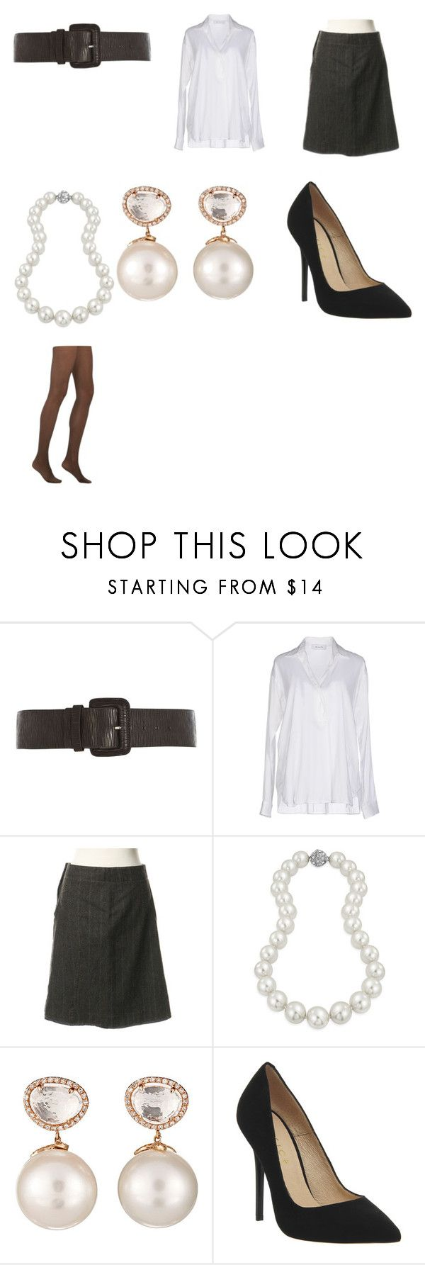 """""""Marcia Gay Harden's introductory outfit as Ms. Cheevus in """"Spy Hard"""""""" by terrence-michael-clay on Polyvore featuring Dorothy Perkins, Aglini, Schumacher, Bling Jewelry, Samira 13, Office and Fogal"""