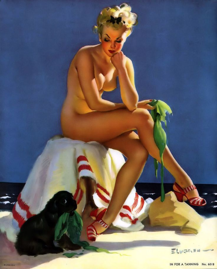 "lovethepinups: Gil Elvgren - ""In for a Tanning"" - 1944 - Also known as ""Smart Grab"""
