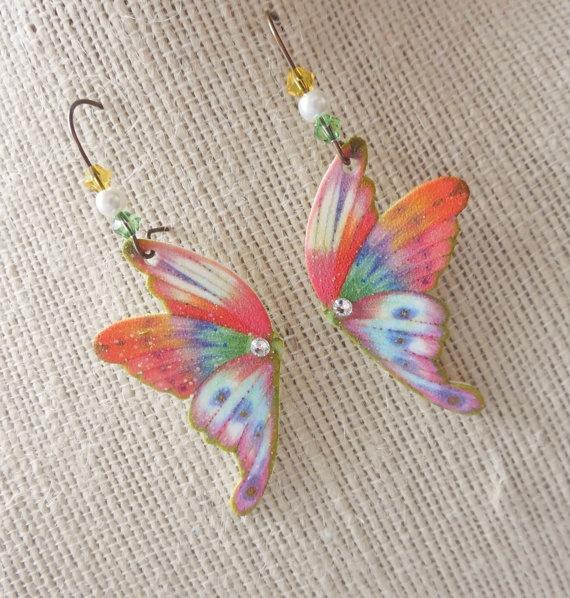 Butterfly Earrings Orange Plastic Shrink Art by MeadowArtShop, $16.00