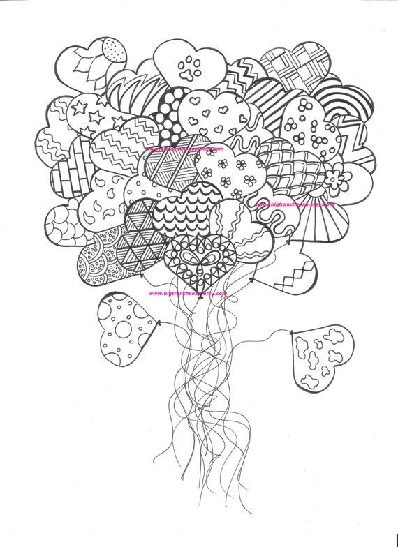 Orsett hall valentines day printable coloring pages ~ Adult Coloring Page - Heart Balloons - Hand Drawn ...