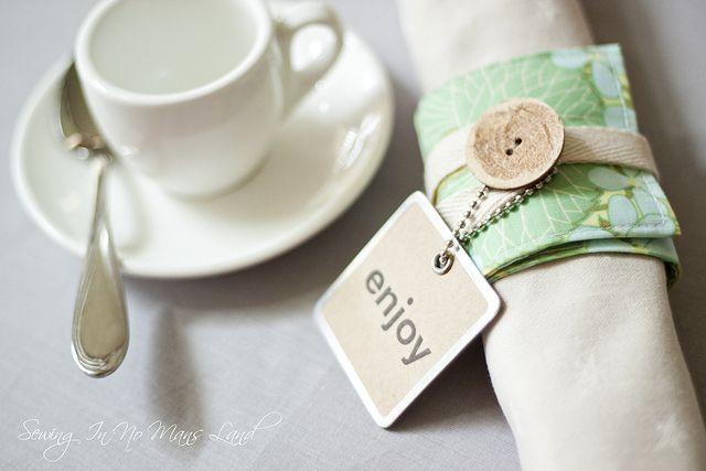 Scrap fabric napkin rings
