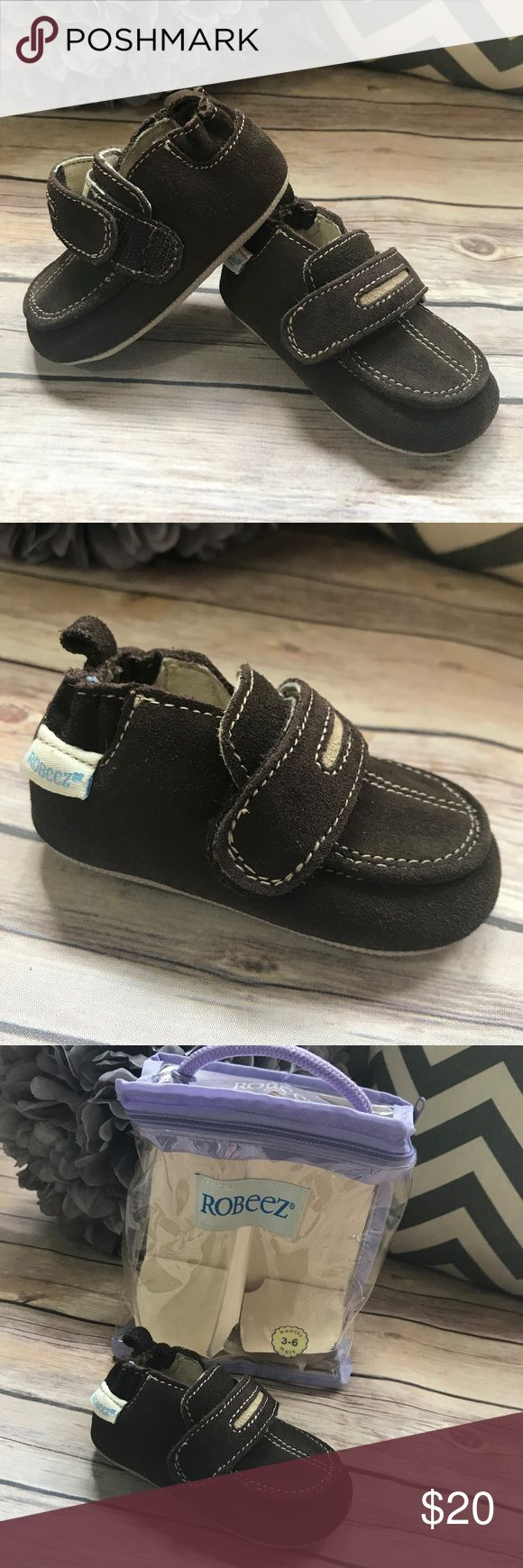 """Robeez Brown Suede Loafers 3-6 mo Soft Sole Shoes Robeez Brown Suede Loafers 3-6 mo Soft Sole Shoes   Second owners so I'm not going to say NWT but they do not look worn. Size is 3-6 mo. More substantial sole than typical Robeez (not leather on the outsole) Hook and loop strap. 4.75"""" heel to toe on the outsole. Robeez Shoes Baby & Walker"""