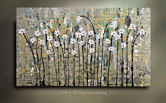 ORIGINAL Flower Painting Abstract Landscape by tjenkinsarts