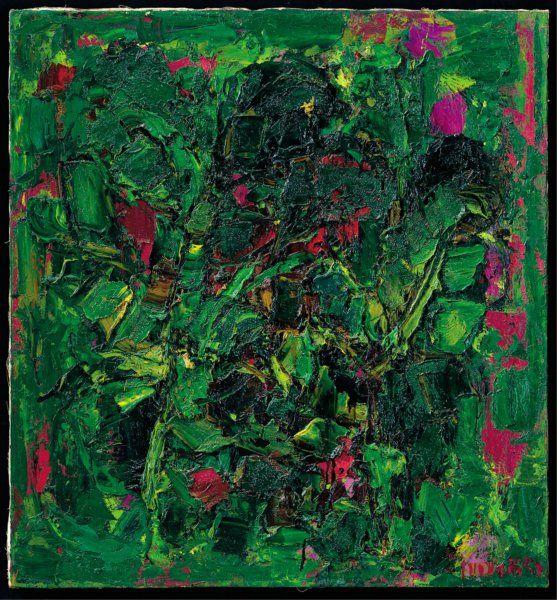 Ennio Morlotti,Vegetazione, 1957,olio su tela,80 x 75 cm,collezione Antonio Stellatelli