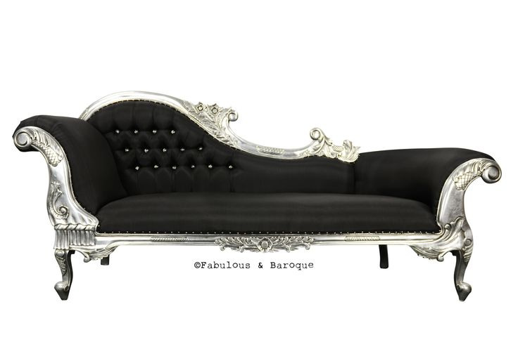 Queen anne 39 s revenge chaise black silver for Black and silver chaise lounge