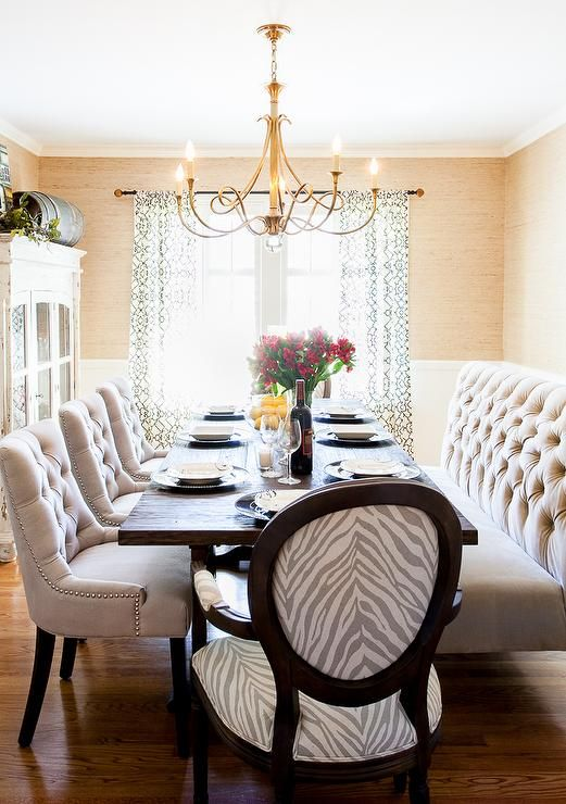 Beautiful Dining Room Adorned With Brass Chandelier, Tufted Bench, Tufted  Dining Chairs, Grasscloth Wallpaper
