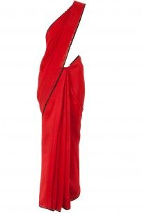 Deep red sari with printed asymmetrical blouse