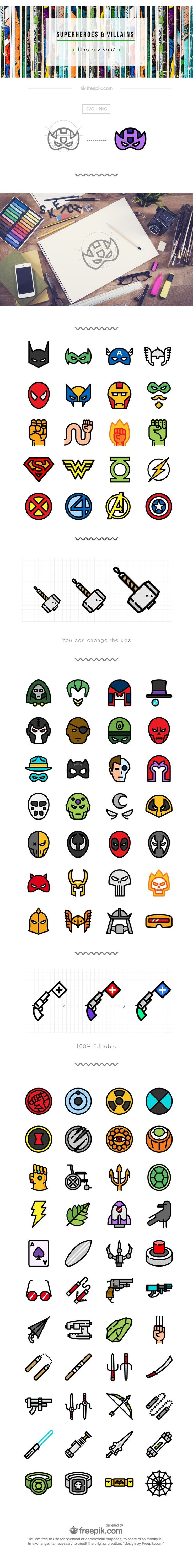 Superhero icon set flat free