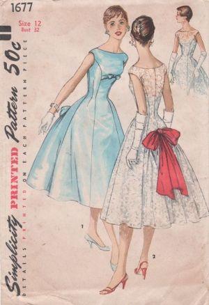 Простота 1677 1950-х скучает по Принцесса шов платье для коктейля старинные картины шить mbchills, по missyann1