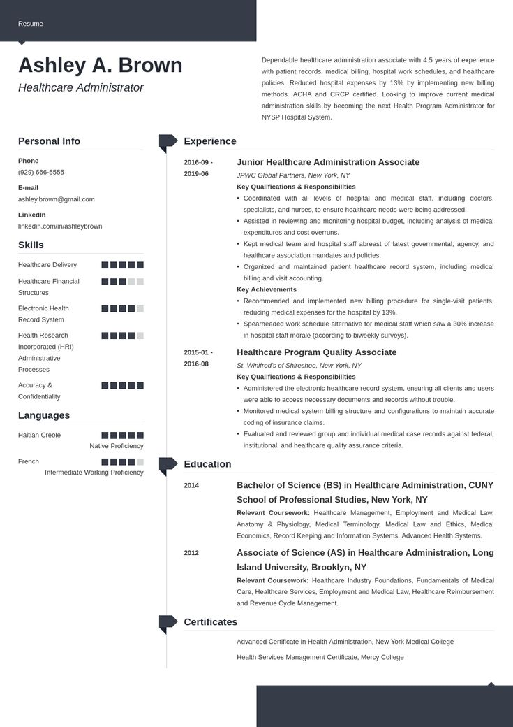 healthcare resume example template modern in 2020