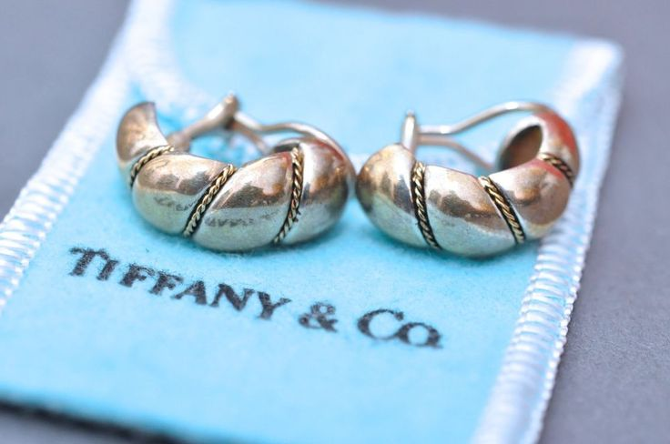 Vint. 90s Tiffany & Co. Silver & Gold Rope Braid Shrimp Swirl Clip Hoop Earrings #TiffanyCo #SwirlHoop