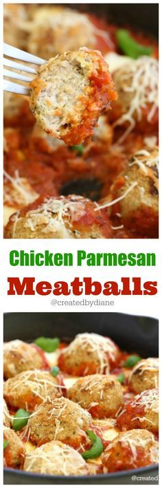 Chicken Parmesan Meatballs cast iron skillet recipe @createdbydiane