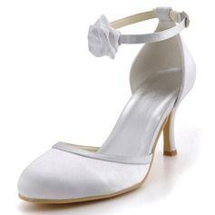 Women's Satin Stiletto Heel Closed Toe Pumps With Buckle Satin Flower