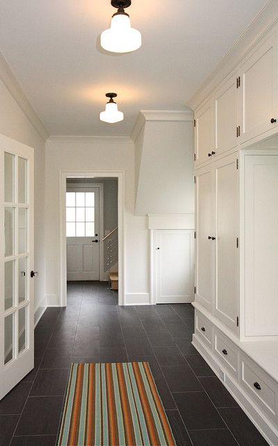 White walls & dark floors