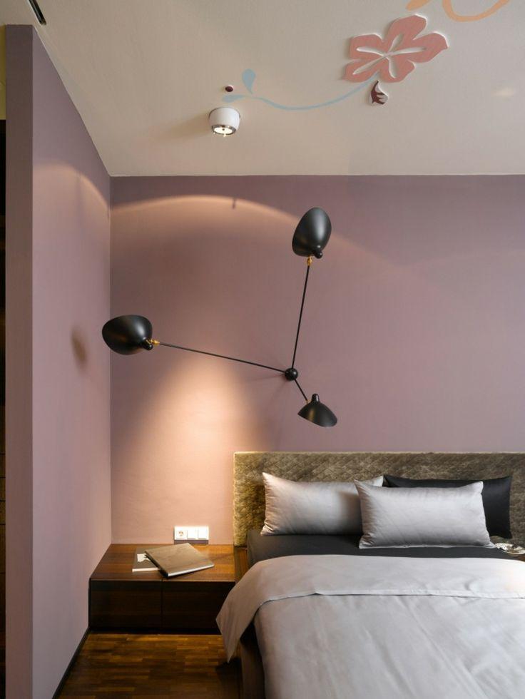 Farbe Mauve Modern Einrichtung Decke Deko Blumen Bett
