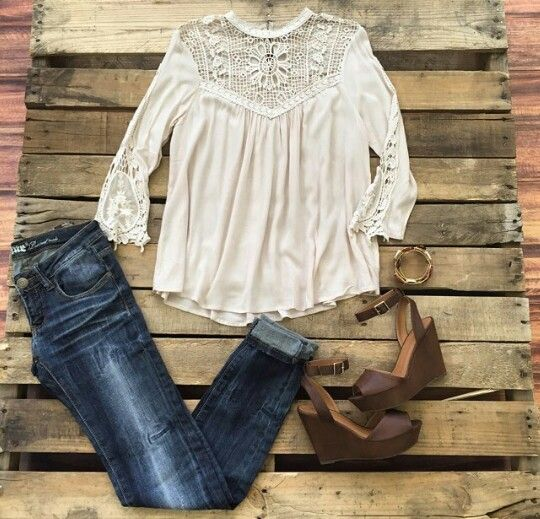 Southern fried chics lace boho shirt blouse, jeans, brown wedges outfit.