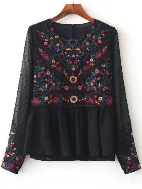 Blusa de malla con bordado floral - negro-Spanish SheIn(Sheinside)