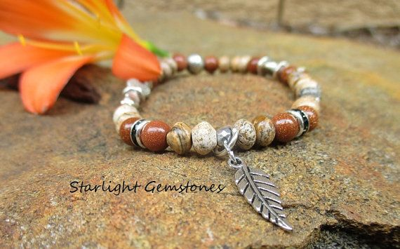 """""""$25"""" Nature Girl - Bohemian/Nature Inspired Picture Jasper with Goldstone Gemstone Bracelet with Silver spacers and Leaf Charm."""