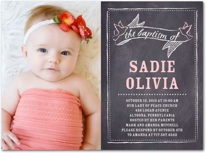 Baptism, Christening Invitations Chalkboard Cherish - Front : Soft Pink