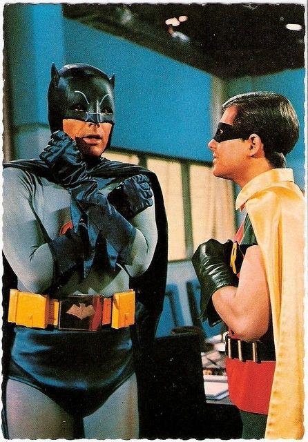 "theswinginsixties: "" Adam West and Burt Ward as Batman and Robin. """