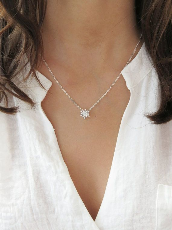 Beautiful & Delicate Cubic Zirconia Snowflake Necklace. Perfect for winter weddings. Necklace Details: Sterling silver with cubic zirconia