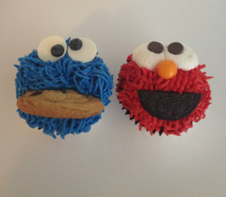 Cookie Monster and Elmo cupcakes | My Cake, Cupcake ...