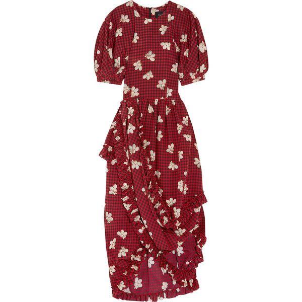 Simone Rocha Ruffled asymmetric printed silk midi dress ($740) ❤ liked on Polyvore featuring dresses, burgundy, burgundy midi dress, asymmetrical hemline dress, asymmetrical dresses, ruffle sleeve dress and red midi dress