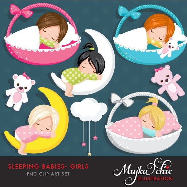 Sleeping Babies in baby baskets Clipart Instant Download Baby graphics by mujka on Etsy