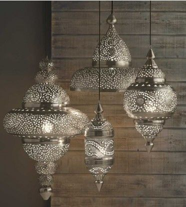 recycled aluminum, shaped and filled with hot wax, then hand punctured into intricate patternsDecor, Dining Room, Moroccan Lamps, Moroccan Style, Hanging Lanterns, Pendants Lights, Moroccan Hanging, Moroccan Lanterns, Hanging Lamps