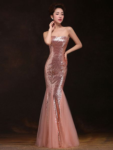 624f7115731 Mermaid Prom Dresses Long Sequin Evening Dress Strapless Formal Gowns in  2019
