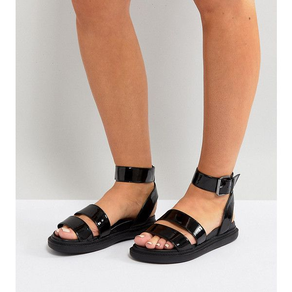 dda6034bc91 ASOS FLOCK Wide Fit Chunky Flat Sandals ( 47) ❤ liked on Polyvore featuring  shoes