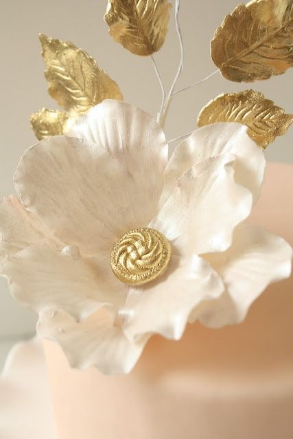 White and Gold Flower detail  Cakespiration  Gold Shades of gold Gold flowers