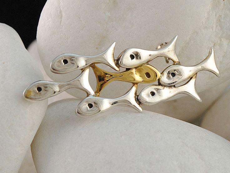 A. LeONDARAKIS Fish Brooch/Pendant Handmade, Solid Sterling Silver and 14K Gold #ALeONDARAKIS