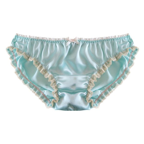How cute is this?  Gloria Silk Ruffle Knicker (€26) ❤ liked on Polyvore featuring intimates, panties, silk slip, frilly knickers, vintage slip, vintage silk slip and lace trim slip