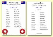 Anzac Day Missing Vowels Worksheet