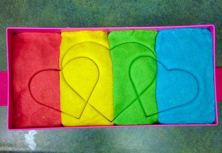 Homemade playdough for a Valentine's Day gift for the whole class.