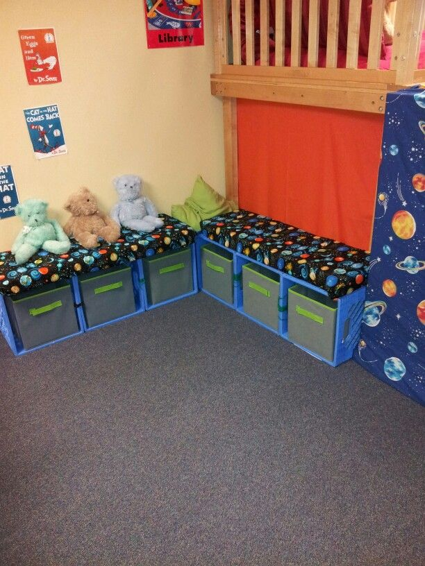 "DIY classroom library crate benches- A neat way to save space in the classroom through efficient use of supplies. It would be a good idea to combine these with bookshelves, but to have the crates serve as the ""readers corner."" You could label the crates according to students reading level and have the crates be the go-to for ""leveled reading"" book selection. The rest of the library could be organized by genre."