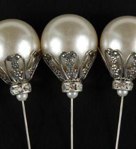 "Milton Adler Crown Jeweled Pearl 7""  Jeweled Picks  (5 pins) $5.95 pack ($1.19 each)"