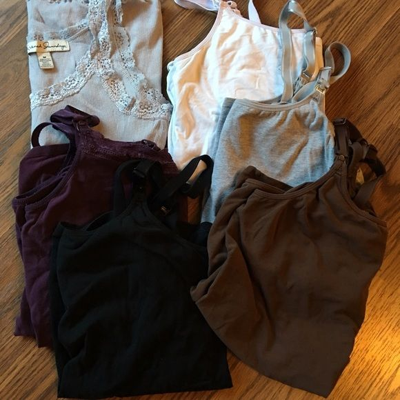 *MATERNITY* Target nursing tanks + 1 free! Gilligan & OMalley Black, brown, gray, white, purple nursing tanks plus a free extra regular gray tank.   The gray, brown and purple are a size L and I believe the black and white are also, but there is no interior tag.  I wore all 6 tanks and I'm a size 10/12, and they fit fine.  All the clasps work fine and all hem seems are intact. Gilligan & O'Malley Tops Tank Tops