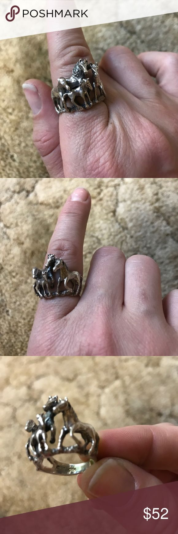 Sterling Silver Horse Ring A cute gift for any horse lover! This sterling silver ring features a scene of four horses. It is approximately a size 8 and stamped 925. I have two of the same ring. Jewelry Rings