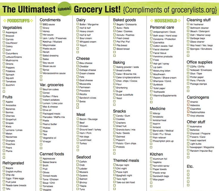 35 best Grocery Lists images on Pinterest Meal prep, Grocery - grocery list