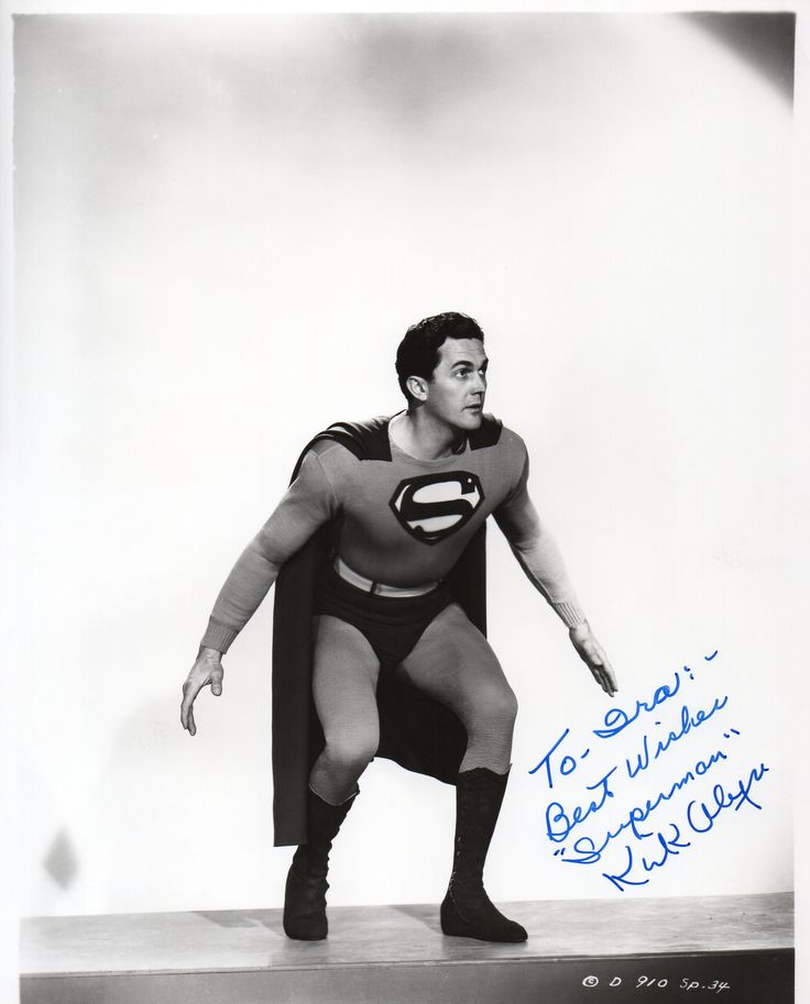 """Kirk Alyn Original Superman Signed 8"""" x 10""""   Hand signed and inscribed. This is a beautiful piece of Super Hero History in excellent condition.  Kirk Alyn (October 8, 1910 – March 14, 1999) was an American actor, best known for being the first actor to play the DC Comics character Superman on screen in the 1948 film serial Superman and its 1950 sequel Atom Man vs. Superman."""